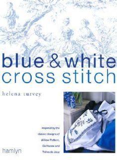 Blue and White Cross Stitch Inspired by the Classic Designs of Willow