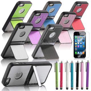 Aluminum TPU Hard Case Cover W/Chrome Stand For iPhone 5 5G+Screen