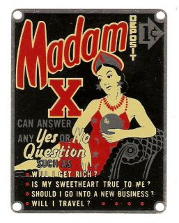 1950s MADAM X Penny Arcade Machine ADVERTISING NAME PLATE Great
