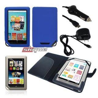 kit for nook/nook color tablet leather case soft skin chargers