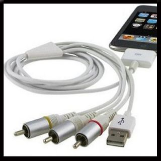 Composite Video AV Cable to TV RCA USB Charger iPad 2 3 iPhone 4 4S