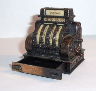 Diecast OLD SCHOOL CASH REGISTER ~ Drawer OPENS! Handle Turns