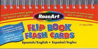 FLIP BOOK FLASH CARDS English SPANISH en Espanol INGLES Words LEARN