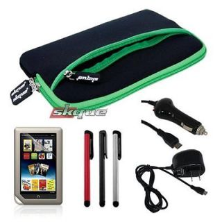 Green Case Bag Pouch+Car Wall Charger+ LCD Film For Nook Color Tablet