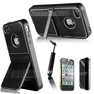 Black Aluminum TPU Hard Case Cover W/Chrome Stand For iPhone 4 4S