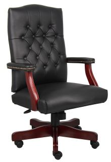 LEATHER EXECUTIVE OFFICE CHAIR WITH MAHOGANY WOOD BASE IN BLACK