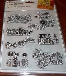 CLEAR ACRYLIC AUTUMN LEAVES STAMPS ALL OCCASION WORD ~HUGS & KISSES