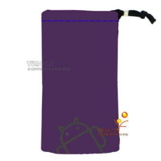 Purple Android Velvet Pouch Bag Case For LG Optimus P500 P970 E730