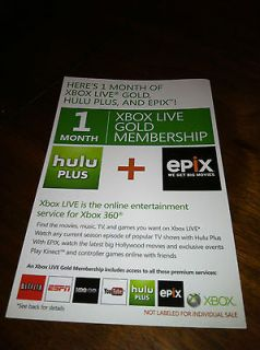 Newly listed NEW XBOX 360 LIVE GOLD MEMBERSHIP 1 MONTH PLUS HULU