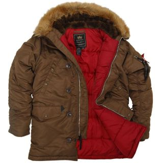 Alpha Genuine N 3B Slim Fit Parka Brown/Red   Metal zipper