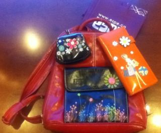 ESPE Red Floral backpack/purse/bag with black floral coin purse