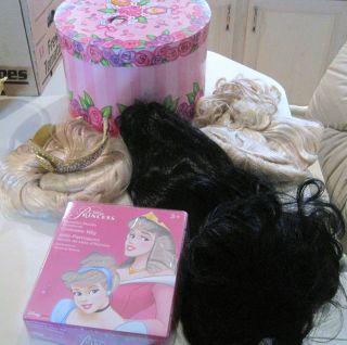 Costume Wigs w/ Princess Hatbox   Cinderella, Aurora, Snow Whi