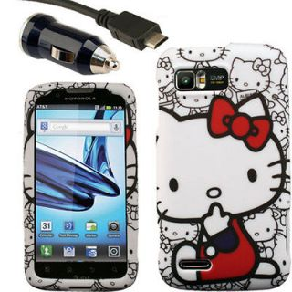 Case+Car Charger for Motorola ATRIX 2 A Hello Kitty MB865 II AT&T