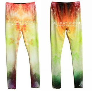 Women Aurora Space Galaxy Graphic Printed Leggings Pants Tights