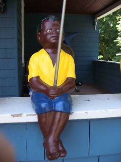BLACK FISHING BOY STATUEW. FREE CONCRETE HAT (LAWN JOCKEY BUDDY)