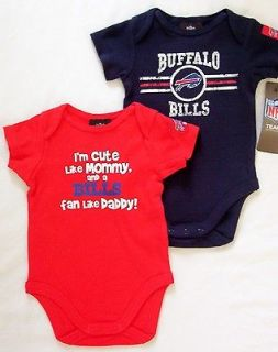 Buffalo Bills Baby Infant One Piece Creeper Bodysuit 2 Pack NWT