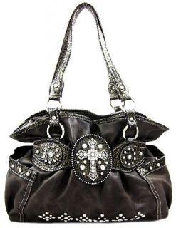 Western Cowgirl Rhinestone Cross Stud Accent Bling Hobo Purse Handbag
