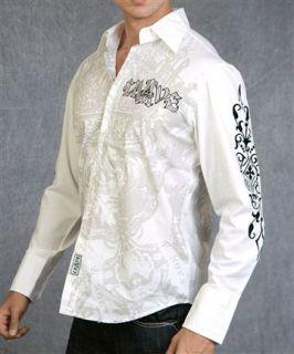 Crave by Rebel Spirit Mens Long Sleeve Shirt NWT C005 White