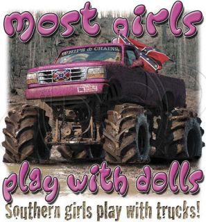 Dixie Tshirt Southern Girl Play With Trucks Rebel Rose Redneck 4