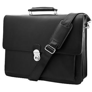 Durable Black Leather Mens Laptop Business Briefcase Messenger