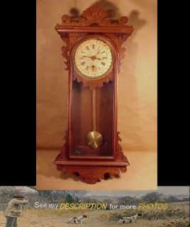 Antique Victorian E.N. Welch Black Walnut Calendar Wall Clock