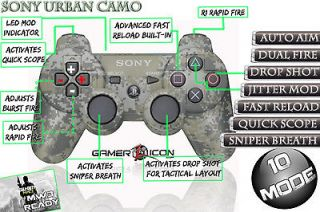 PLAYSTATION 3 PS3 MODDED CONTROLLER RAPID FIRE 10 MODES URBAN CAMO NEW
