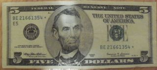 STAR NOTE FIVE DOLLAR BILL SERIAL NUMBER RICHMOND 1999 E 5