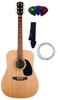 Fender Starcaster Acoustic Guitar Starter Pack w/ Strings, Strap, and