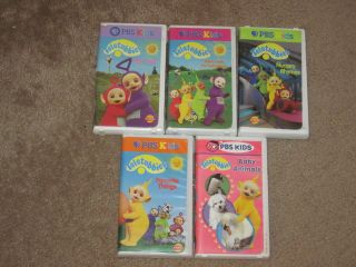 PBS Kids TELETUBBIES Lot 5 VHS~Baby Animals/Big Hug/Favorite Things