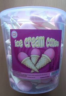 TUB 75 GIANT ICE CREAM CONES SHAPE CANDY FOAM RETRO SWEETS