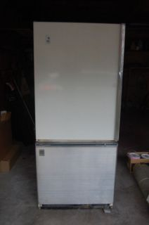 Retro GE Refrigerator, antique refrigerator, old appliance General