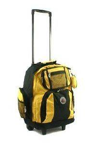 18 Deluxe Rolling Backpack School Bookbag Laptop Travel Bag YELLOW