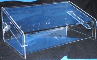 Clear acrylic display case, includes lock and key, single shelf, depth