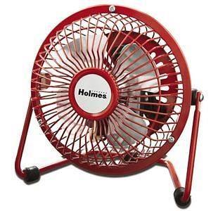 Holmes HNF0410A RM 4 Personal Mini Fan Adjustable Tilt Head Metal Red