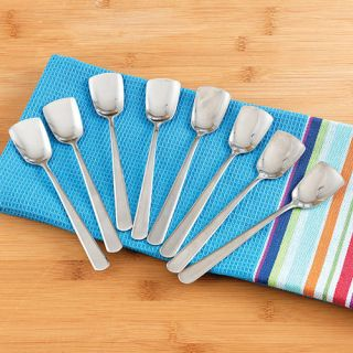 ICE CREAM SPOONS STRAIGHT EDGE SPADE SHAPED STAINLESS STEEL SET OF 8