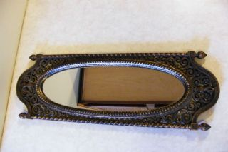 Vintage OVAL WALL MIRROR Plastic Ornate Frame HOMCO USA