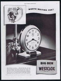 1946 Westclox Big Ben Clock Worth Waiting For Magazine Print Ad