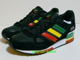 ADIDAS ZX 750 Trainers Black Rasta Suede Nylon running 800 new UK10.5