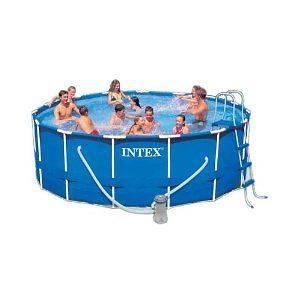 Intex Round Above Ground Metal Frame Swimming Pool Set
