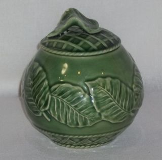 Bordallo Pinheiro Leaf Service Green Sugar Bowl with Lid