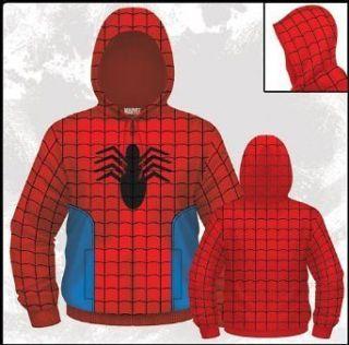MARVEL Comics Spider Man Spidey Suit Costume Mens Zip Hooded
