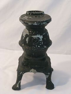 AMERICANA/VINTAGE METAL CHIPPY BLACK MINIATURE POT BELLIED STOVE (LAMP