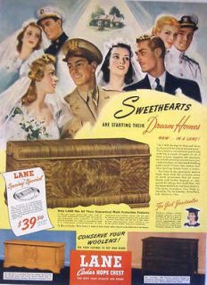 1943 WWII LANE CEDAR HOPE CHEST   SWEETHEARTS Three Models Print Ad
