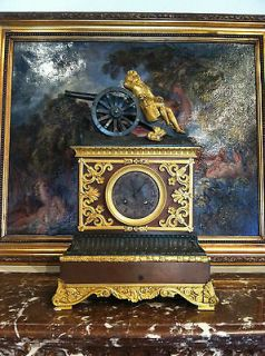 ANTIQUE WORKING NAPOLEON / LOUIS FRENCH EMPIRE GILT BRONZE MANTEL