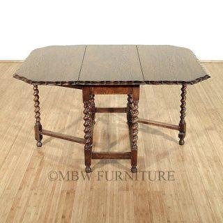 Antique Solid Oak Jacobean 4.5Ft Gateleg Barley Twist Dining Table