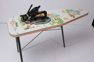 Sunny Suzy Iron That Heats & Matching Ironing Board Vintage Childs Toy