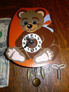 VINTAGE W GERMANY LINDEN BEAR WALL CLOCK, EYES MOVE!!