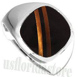 Mens Mens Double Tiger Eye Line w Black Stone Rhodium Plated Ring