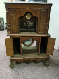 Antique RCA Victor Console Tube Radio+Rare Factory Clock Phonograph
