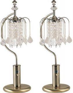 LAMP SET* 27 ANTIQUE BRASS TABLE TOP RAIN GLASS CHANDELIER LAMPS